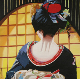 geisha au paravent