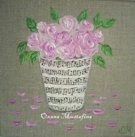 "Peinture acrylique ""Poésie rose"" Shabby"