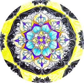 Dessin Mandala bleu jaune / Drawing Blue yellow mandala