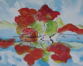 Artiste LangdonArt Maison esquisse d'automne