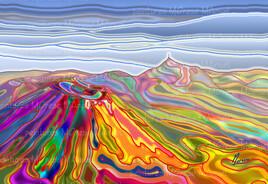 """""""Chaîne des Puys Effets spéciaux """" - Peinture paysage - Peinture numérique"""