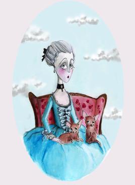 Lady Geraldine et ses deux chiens