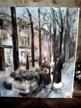 Marchande de fleurs à Paris vers 1920