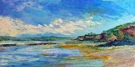 Douarnenez : la plage du Rhys à marée basse (huile)