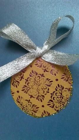 carte de Noël/ ruban argenté