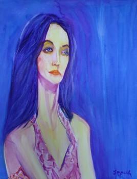 Jeune femme aux cheveux en fil d'ange .