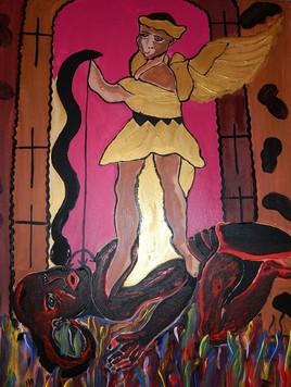 L'ange Angelo sur le diable