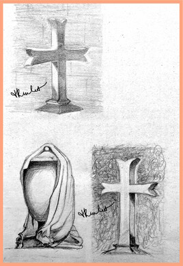 Croix et urne funéraire drapée / Drawing Crosses and draped funeral urn