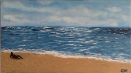 La plage 71 cm x 41 cm