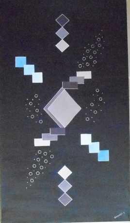 géométrie bleu mauve