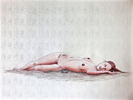 Femme nue allongée endormie 2/3 Cécile / Drawing A sleep lenghtened woman 2/3