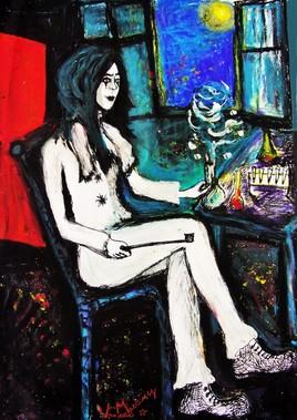 """Pierrot dans son laboratoire"" de Vanessa Martinez 2019"