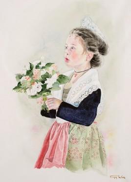 Petite arlésienne au bouquet