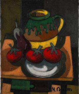 Peinture Tomates et aubergine par YVES DUBOS