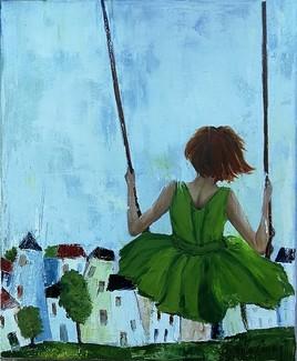 Une demoiselle sur une balançoire !