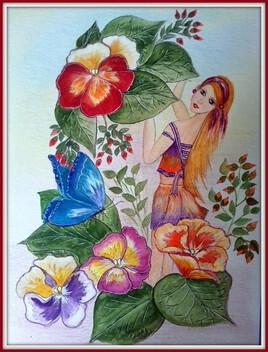 V..VIOLA wittrockiana. (pensée) et sa fée Violette ... (aquar.)