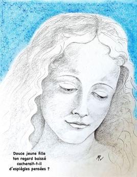 Tête d'une jeune femme de L. de Vinci / Drawing Head of a young woman