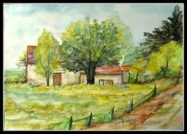 Maison dans la verdure, aquarelle 40x30