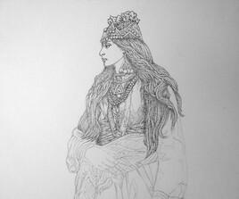 Femme en robe (verte) 2 e  Étape