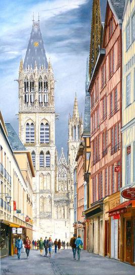 Rouen rue du gros horloge; Cathedrale.