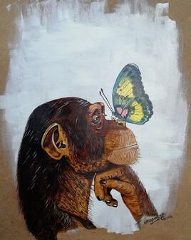 Le chimpanzé et le papillon.