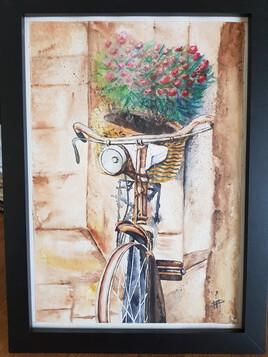 Vélo à l'aquarelle.