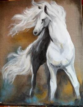 cheval blanc sur lin naturel