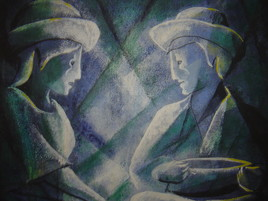 Deux personnages assis