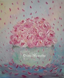 Peinture acrylique Poésie des pétales de roses Shabby