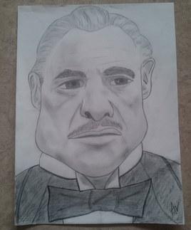 Caricature Marlon Brando (dans le Parrain)