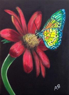 """""""Le papillon et sa fleur"""" - Peinture acrylique sur châssis toile 13 x 18"""