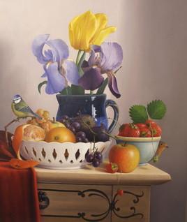 L'ensemble à la coupe de fruits et trio fleurs (55 x 46 cm) 10F