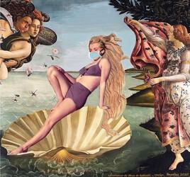 """Marilyn """"confinée"""" revisite la naissance de Vénus de Botticelli ! :)"""