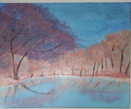 cerisier au bord du lac
