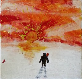 """The Daddy Bear & The Mom Owl """" Sunset under the snow """""""
