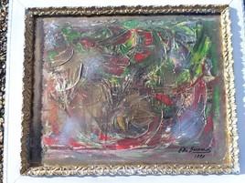 ELIE BERNARD ACRYLIQUE ORIGINALE ART ABSTRAIT  SUR TOILE 52X63 CADRE COMPRIS