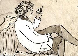 Claudine  fumant sur canapé   en 1978