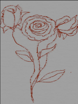 Peinture rose sur fond gris