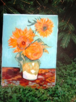 Trois tournesols dans un vase (d'après Vincent Van Gogh)
