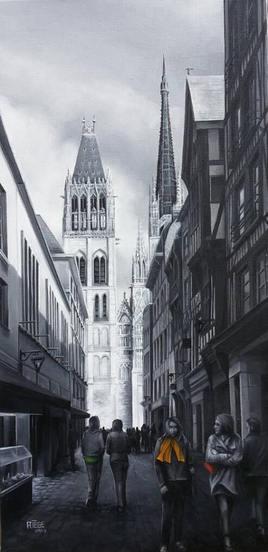 """Le foulard orange de la Rue du Gros Horloge de Rouen"""