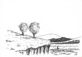 Dessin  - Un village dans la vallée