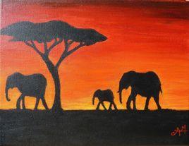 Éléphants au crépuscule