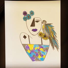La femme a l'oiseau