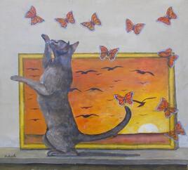 le chat et les papillons