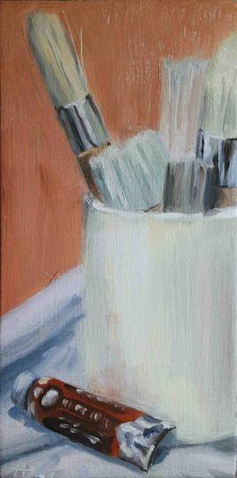 Pinceaux, tube de peinture