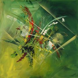 Tableau abstrait à la peinture acrylique style art déco : Savanah