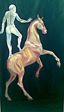 Peinture nu sur cheval debout