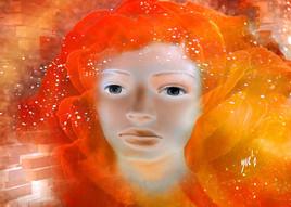 Orange hair. Art numérique