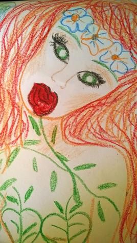 Eva et la rose rouge (pastels gras)