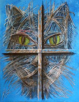 Chat bleu derrière une fenêtre